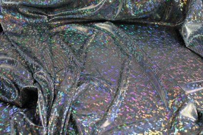 Glanzstoff elastisch schwarz/silber - 17-003-241