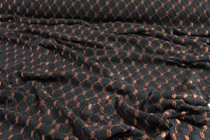 Bestickter Tüll elastisch schwarz/braun - 30-008-232