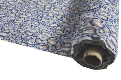 Netzstoff bedruckt blau/beige - 34-014-819