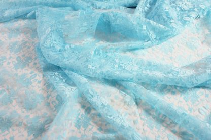 Spitzenstoff geblümt türkis - 40-008-035
