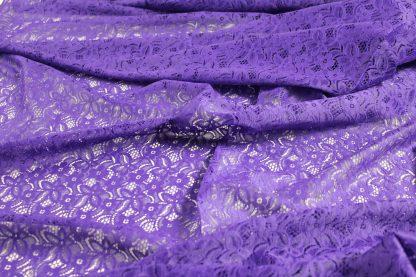 Spitzenstoff geblümt lila - 40-025-022