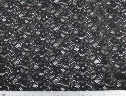 Spitzenstoff geblümt schwarz 40-025-046