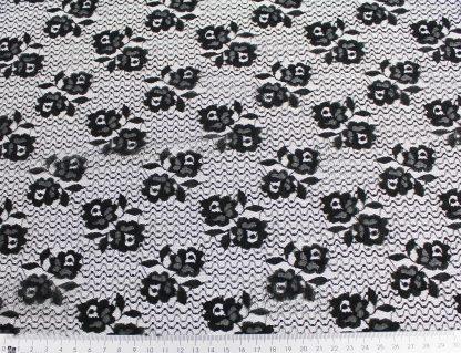 Spitzenstoff geblümt schwarz 40-028-046