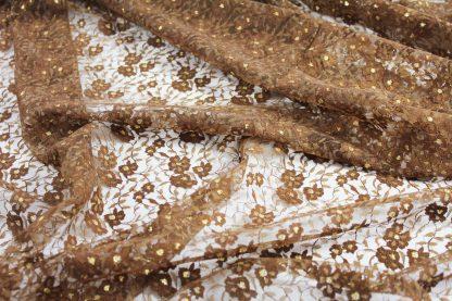 Spitzenstoff braun/gold - 41-004-447