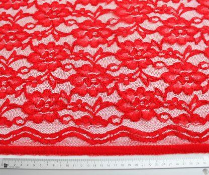 Spitzenstoff mit Bogenkante rot - 42-004-024