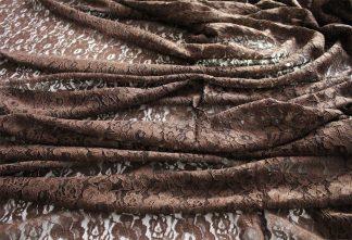 Spitzenstoff mit Bogenkante dunkelbraun - 42-006-033