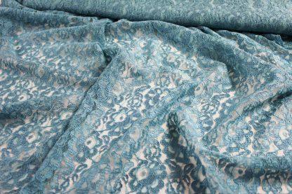 Spitzenstoff mit Bogenkante türkis - 42-006-035