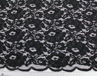 Spitzenstoff mit Bogenkante schwarz- 42-006-046