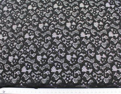 Spitzenstoff mit Gimpe und Lurex schwarz - 43-009-241