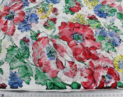 """Spitzenstoff """"Blume"""" bedruckt weiß/rot - 44-006-324"""