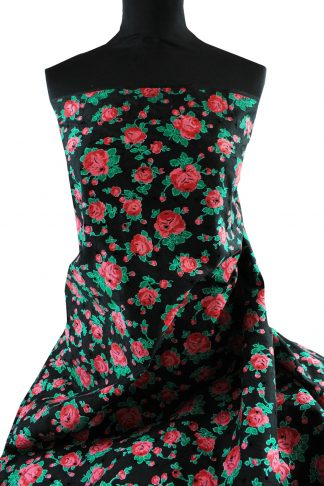 Batist Stoff mit englischer Rose bedruckt und Lochstickei schwarz - 50-025-249