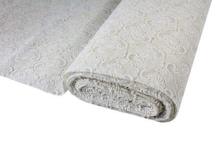 Baumwollspachtelspitze für Brautmode weiß - 51-057-001