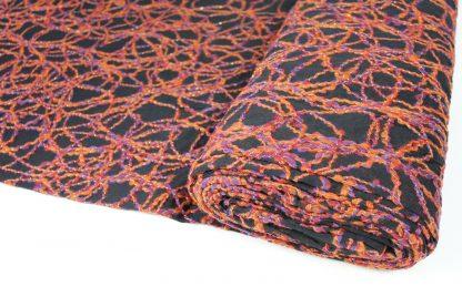 Farbige Wollstickerei auf Tüll schwarz/orange - 52-006-219