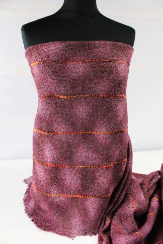 Wollstoff mit Mohair - Stickerei bordeaux - 52-015-029