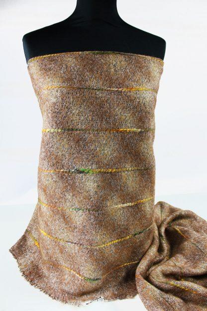 Woll Stoff mit Mohair bestickt braun - 52-015-032