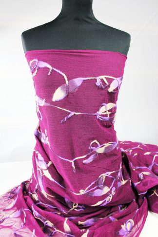 Mit Wollstoff verzierter Tüll lila - 52-022-023