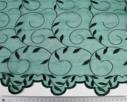 Hochzeitsspitze Stickerei auf Organza mit Bogenkante grün - 55-013-010
