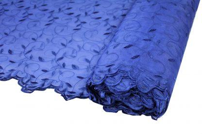 Hochzeitsspitze Stickerei auf Organza mit Bogenkante dunkelblau - 55-013-038