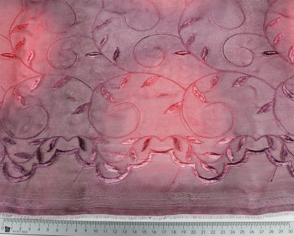 Organza Stickerei mit Bogenkante bordeaux - 55-014-029
