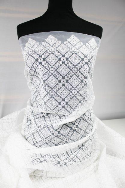 Couture Organza Stickerei weiß - 55-028-001