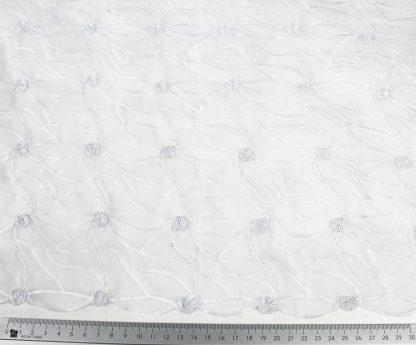 Hochwertiger Organza mit Lurex bestickt weiß - 56-002-341