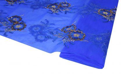 Pailletten Stickerei auf Georgette blau - 56-004-437