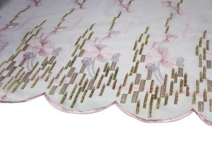 Goldene Stickerei auf Organza orchidee- 56-010-420