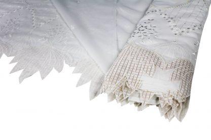 Design Haute Couture Stickerei auf Organza weiß / gold - 56-011-001