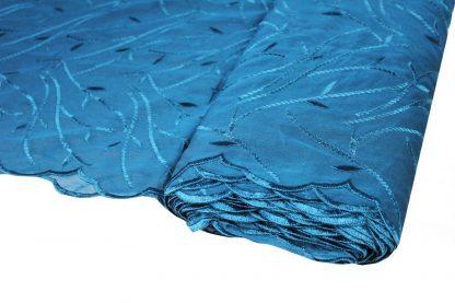 Schöne Stickerei auf Organza blau - 56-007-037