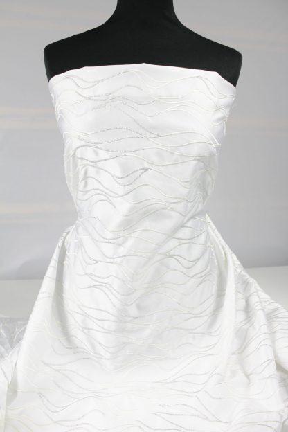 Spitzenstoff für Brautmode Stickerei auf Satin weiß / silber - 58-005-341