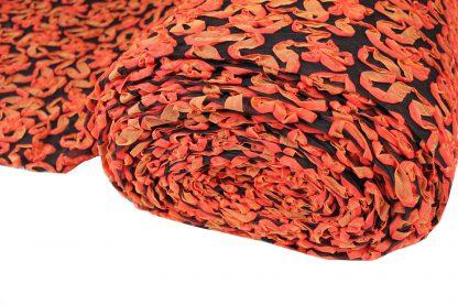 Bändchenstickerei auf Tüll orange/schwarz - 60-018-219