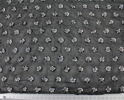 Seidenchiffon mit Stiftperlen bestickt schwarz/weiß - 62-003-201