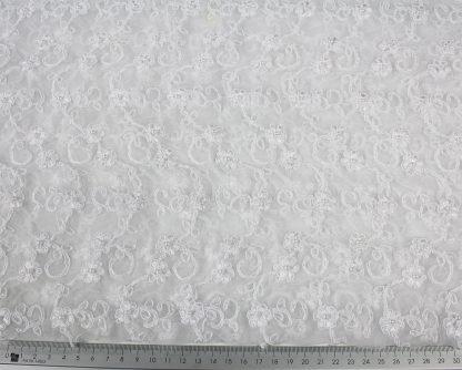 Handgestickte mit Perlen besetzte Tüllspitze weiß - 70-008-001
