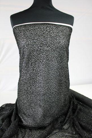 Schöner Spitzenstoff mit Perlen besetzt schwarz - 70-022-046