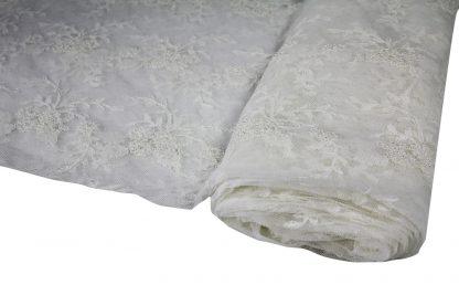 Handbestickte Perlen auf Tüllspitze hellecrue - 71-001-002