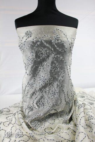Designerstoff mit Wollfaden und Perlen bestickt grau - 72-008-043