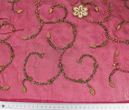 Chiffon Seide mit Perlen bestickt bordeaux - 72-017-029