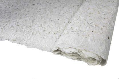 Design Brautspitze - bestickter Seidenstoff in Spachteltechnik ecrue - 73-001-003