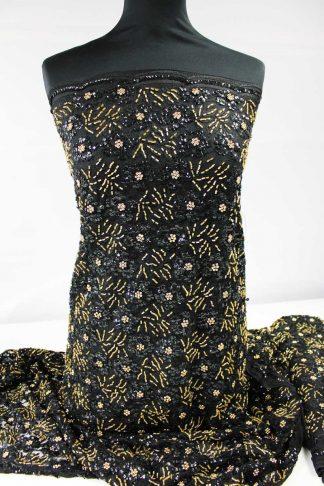 Aufwendig von Hand bestickte Spitze mit Perlen und Pailletten schwarz/gold - 74-003-247