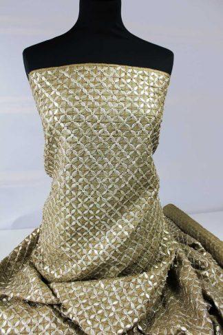 Extravagant bestickter Seidenstoff goldbraun - 74-012-032