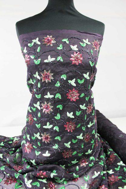 Bunt bestickte Chiffon Seide aubergine - 75-009-30