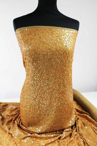 Haute Couture Paillettenstoff mit eckiger Paillette bronze - 76-004-016