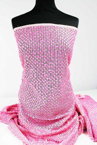 Handgestickte Paillette auf extravagantem Netzgrund - rosa - 76-009-021