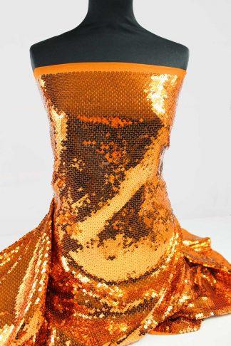 Hochwertige Paillettenstickerei auf Stoff - Paillettenstoff - bronze gold - 76-017-048