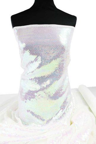 Hochwertige Paillettenstickerei auf Stoff - Paillettenstoff - transparent irise weiß - 76-017-071