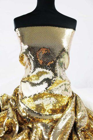 Hochwertige Paillettenstickerei auf Stoff - Paillettenstoff - gold auf schwarz - 76-017-247