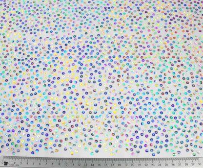 Paillettenstoff mit geklebter Paillette weiß silber - 76-022-341