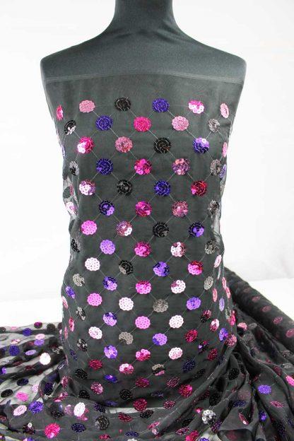 Mit Pailletten besetzter Chiffon schwarz lila rosa - 76-023-223