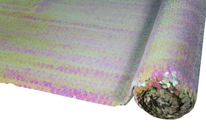 Schöner Stoff mit Pailletten bestickt - elastisch weiß irise - 76-028-049