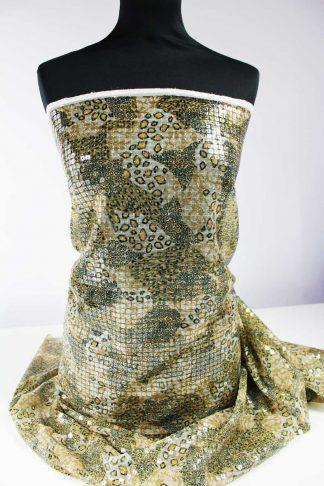 Haute Couture Paillettenstoff gelb grün - 76-079-016